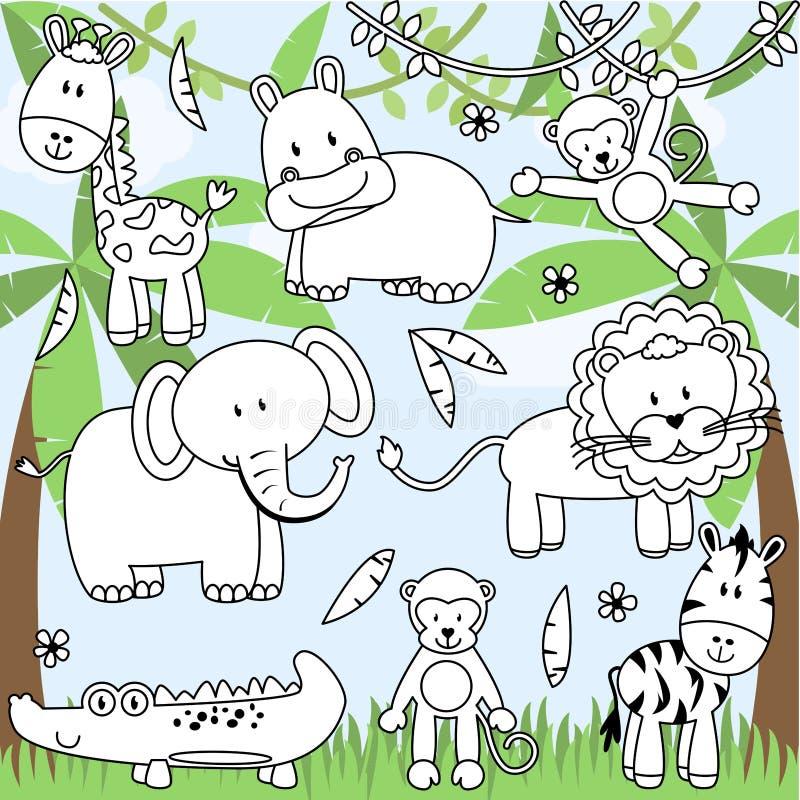 Collection de vecteur d'animaux de zoo de bande dessinée illustration de vecteur