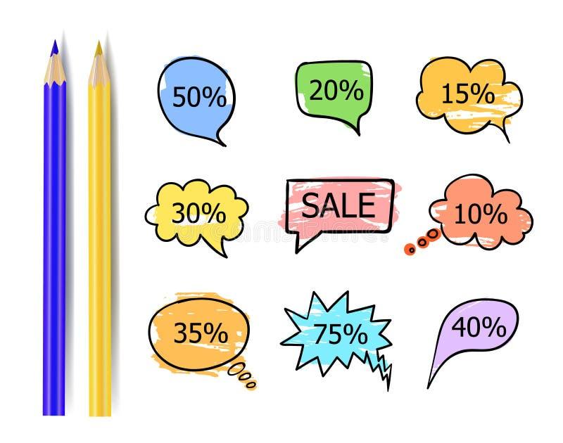 Collection de vecteur d'autocollants de vente, bulles d'entretien avec différentes remises d'isolement illustration libre de droits