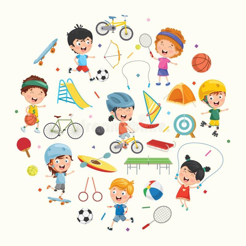 Collection de vecteur d'illustration d'enfants et d'équipements de sport illustration stock