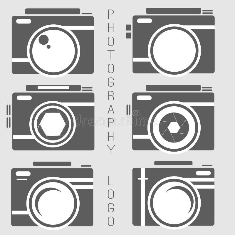 Collection de vecteur de calibres de logo de photographie Logotypes de Photocam Insignes et icônes de vintage de photographie Lab illustration libre de droits