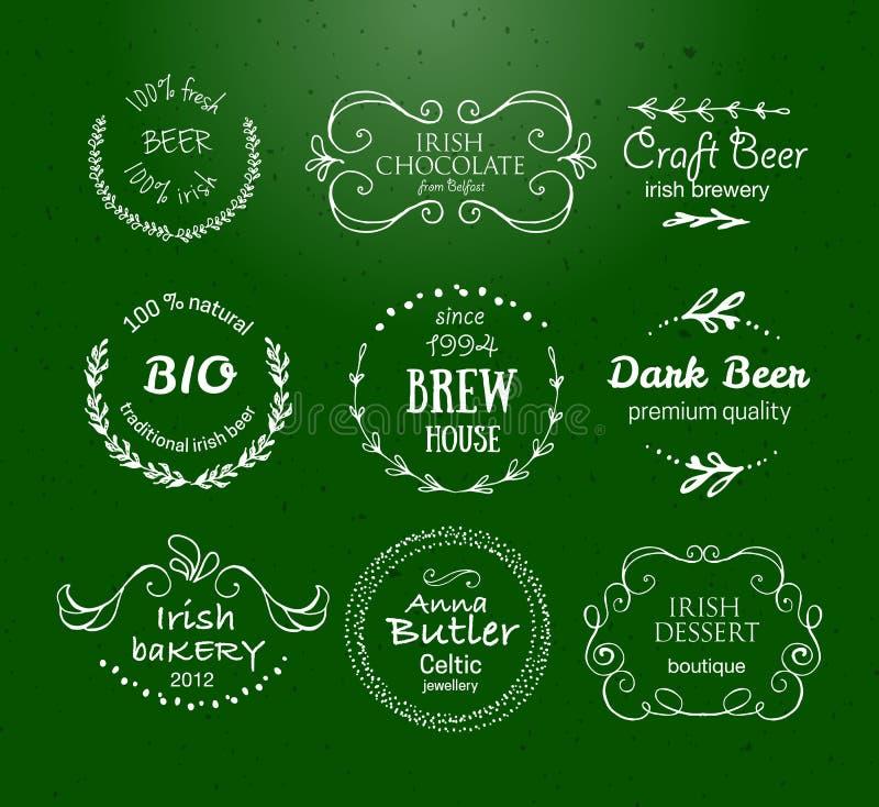Collection de vecteur de calibres tirés par la main irlandais de logo illustration de vecteur