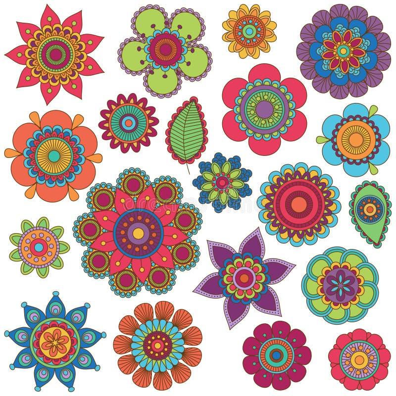 Collection de vecteur de fleurs de style de griffonnage illustration de vecteur