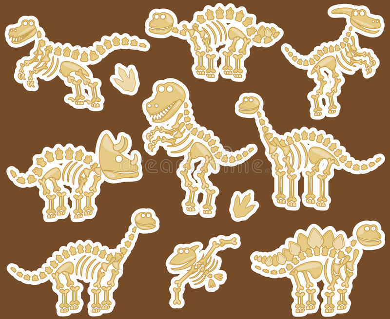 Collection de vecteur de fossiles ou d'os de dinosaure illustration stock