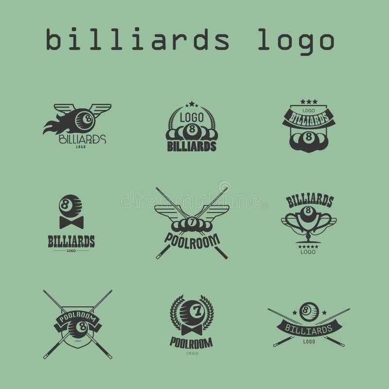 Collection de vecteur de logo de billard illustration libre de droits
