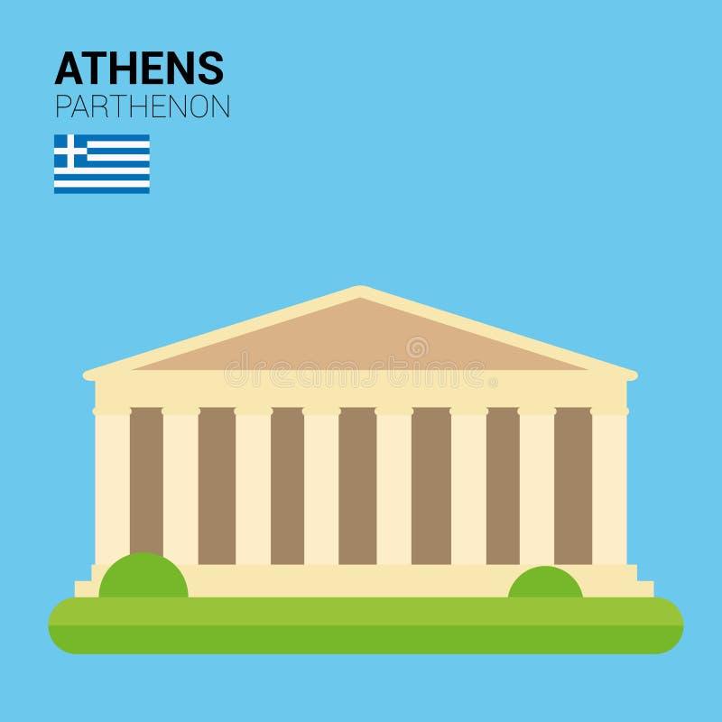 Collection de vecteur de monuments et de points de repère : Parthenon illustration libre de droits