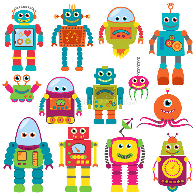 Collection de vecteur de rétros robots colorés illustration libre de droits