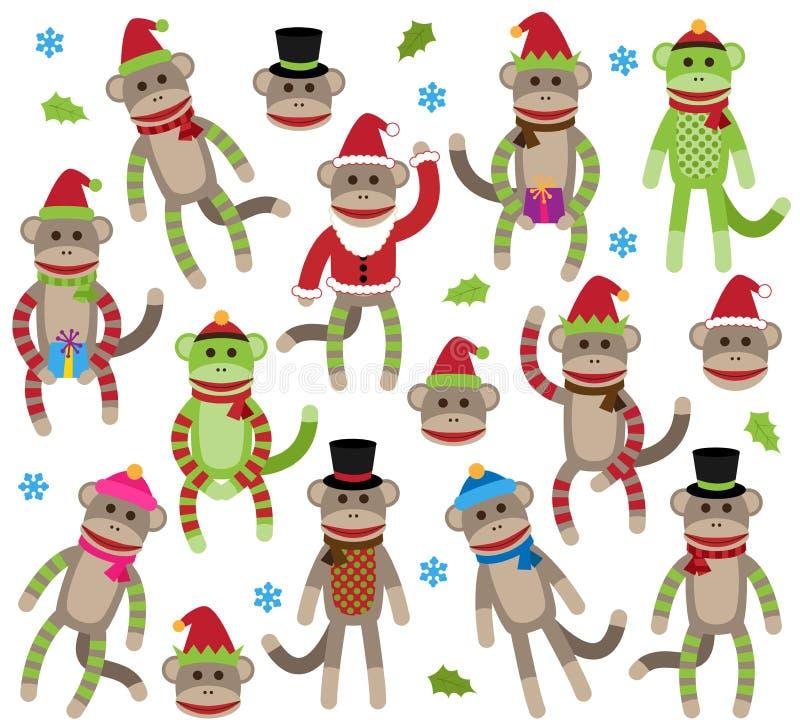 Collection de vecteur de singes orientés de chaussette de Noël mignon illustration libre de droits