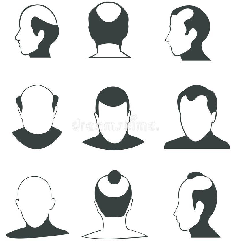 Collection de vecteur de têtes chauves de silhouette illustration de vecteur