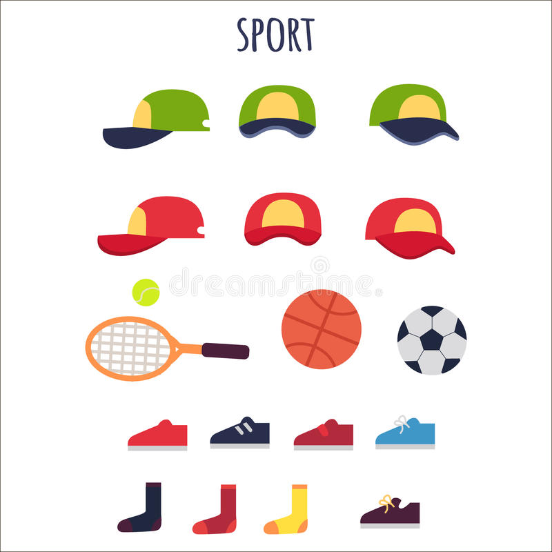 Collection de vecteur de vêtements et d'équipements de sport illustration stock