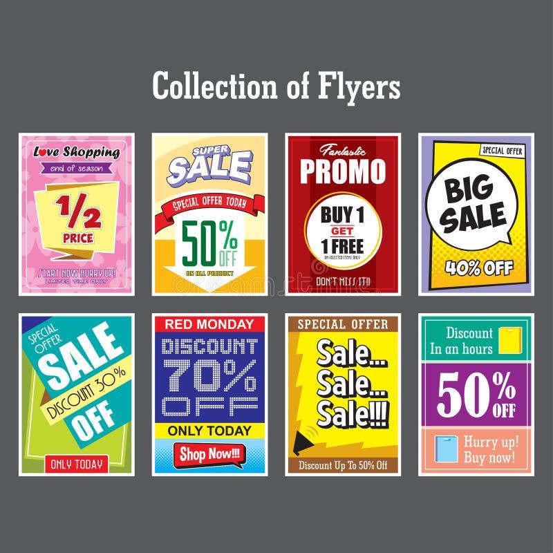 Collection de vecteur de fond d'affiche de promo de remise d'offre de vente d'insectes illustration libre de droits