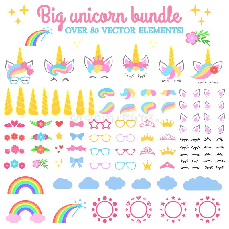 Collection de vecteur - grand paquet de licorne Créez votre propre licorne Constructeur de licorne - horhs, cils, oreilles, coiff photographie stock