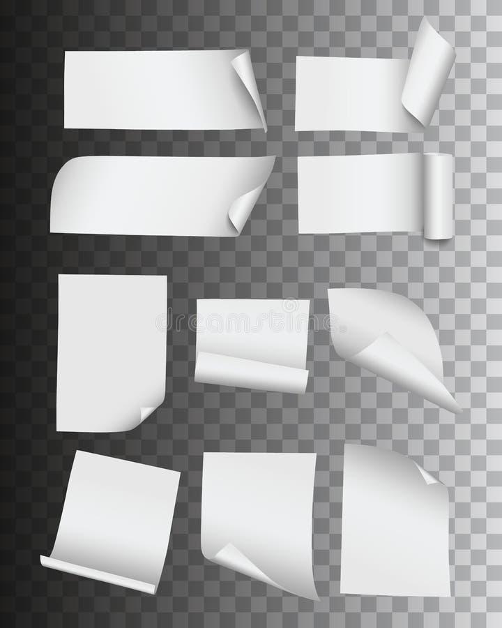 Collection de vecteur de pages réalistes et de labels de papier vides pliés d'isolement sur le fond transparent illustration de vecteur