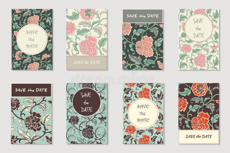 Collection de vecteur de 8 salutations, cartes d'invitation ou insectes Fond antique tiré par la main chinois floral dans le styl illustration stock