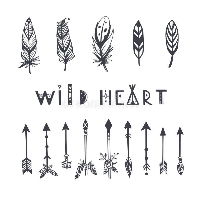 Collection de vecteur de style de Boho pour le tatouage, icône, insectes, cartes avec des plumes, flèches illustration stock