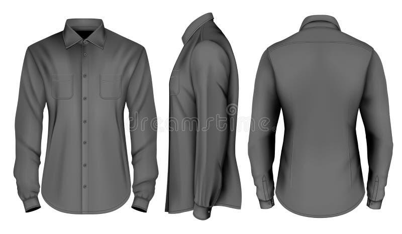 Collection de vecteur de vêtements des hommes ; Chemise longtemps gainée du ` s d'hommes illustration libre de droits
