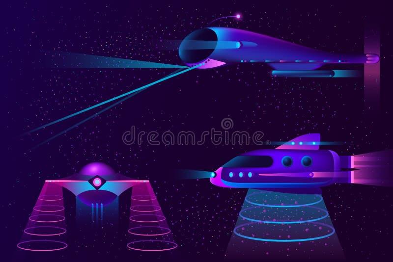 Collection de vecteur de vaisseaux spatiaux, UFO et avions illustration stock
