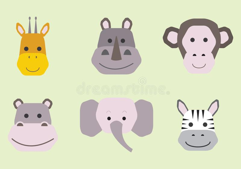 Collection de vecteur de visages animaux mignons, ensemble d'ic?ne pour la conception de b?b illustration stock