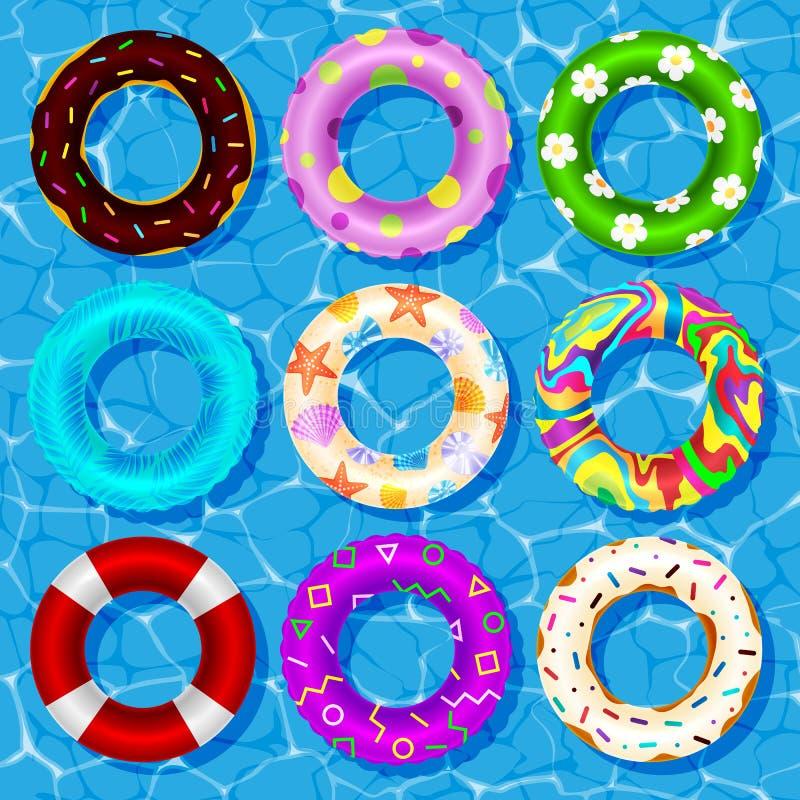 Collection de vecteur de vue supérieure d'anneaux en caoutchouc flottant sur la sécurité de bouée de sauvetage de l'eau de piscin illustration de vecteur