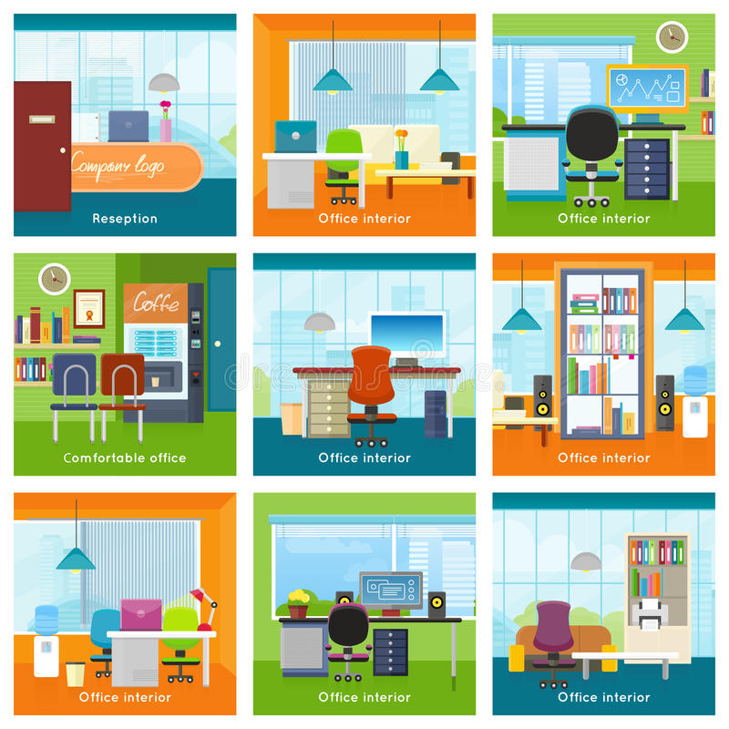 Collection de vecteurs de concept d'intérieurs de bureau illustration libre de droits