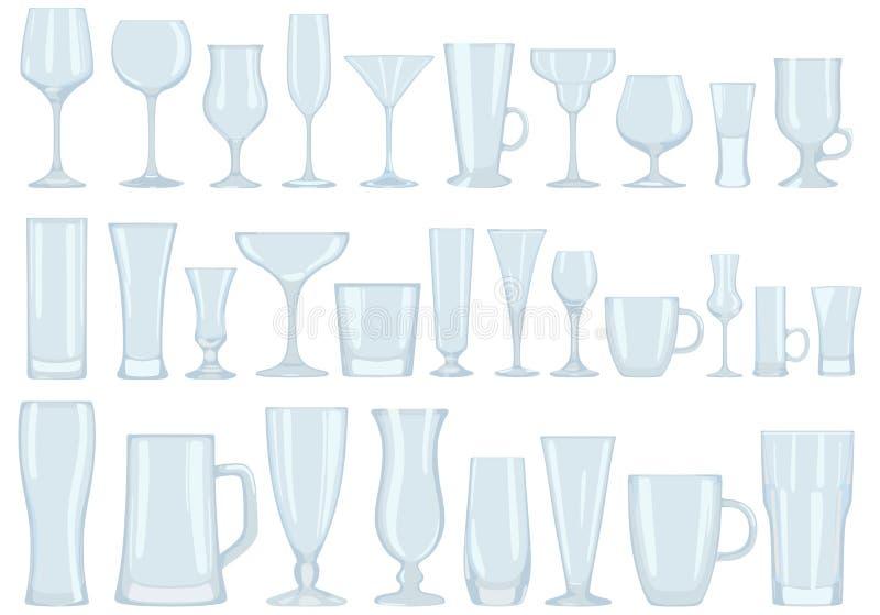 Collection de verres pour des boissons assiettes Illustration de vecteur illustration libre de droits