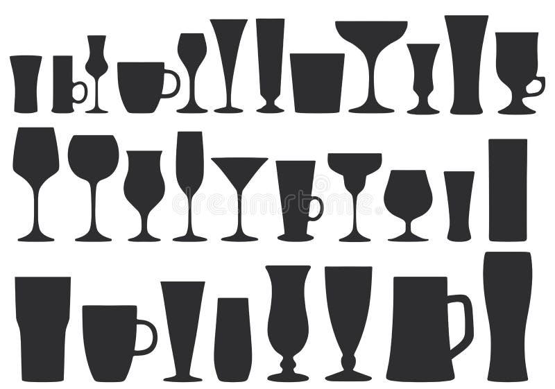 Collection de verres pour des boissons assiettes Illustration de vecteur illustration de vecteur