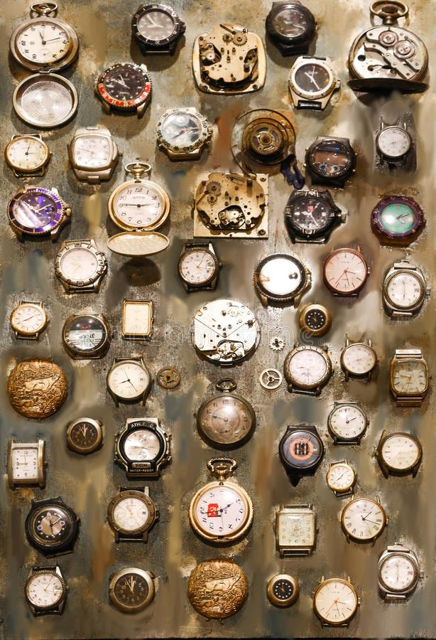 Collection de vieilles montres photos stock