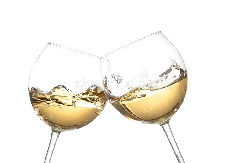 Collection de vin BLANC - acclamations ! Verres de tintement images libres de droits