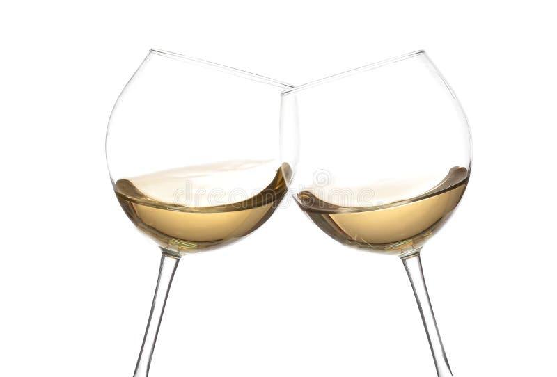 Collection de vin BLANC - acclamations ! Verres de tintement photo stock