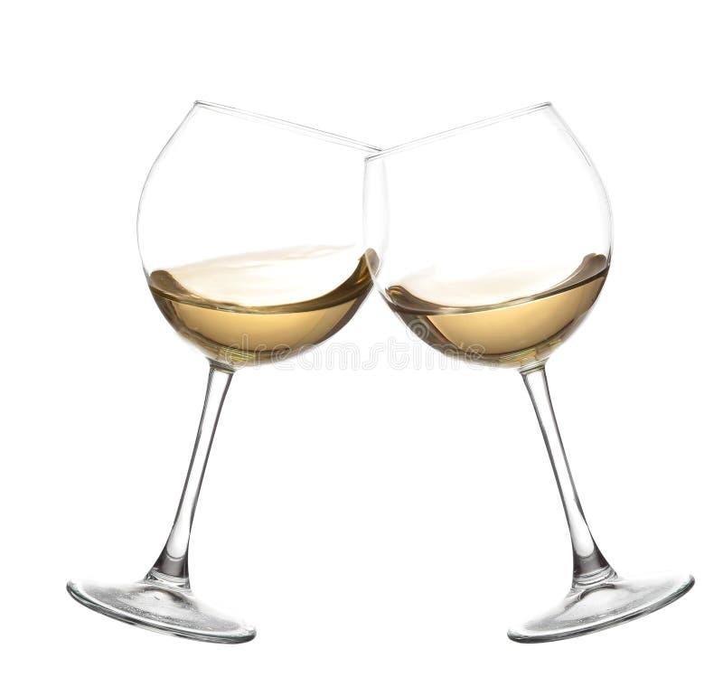 Collection de vin BLANC - acclamations ! Verres de tintement photographie stock
