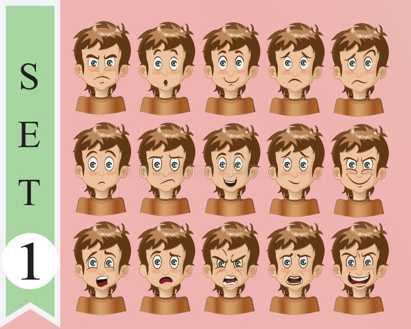 Collection de visage d'émotion de bande dessinée de vecteur illustration de vecteur