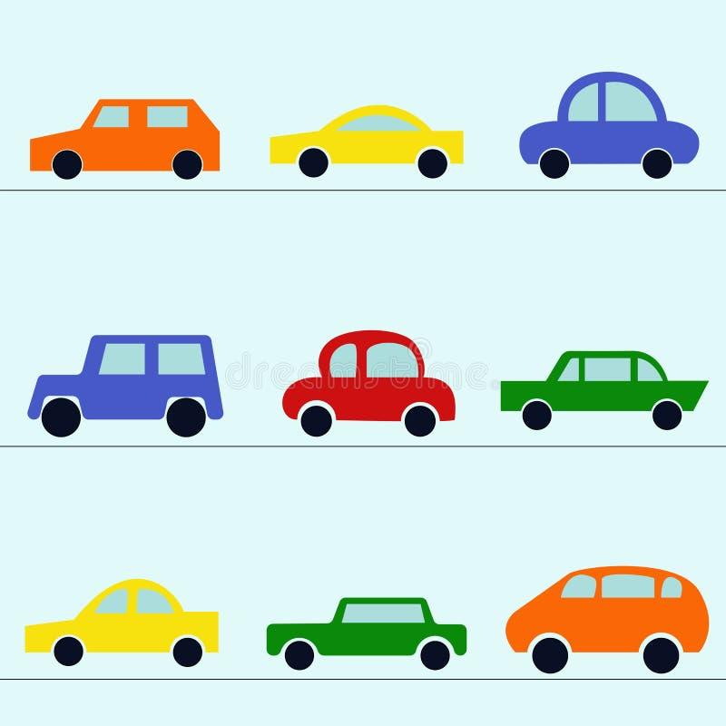 Collection de voiture moderne : cabriolet, berline avec hayon arrière, limousine, voiture de sport illustration libre de droits