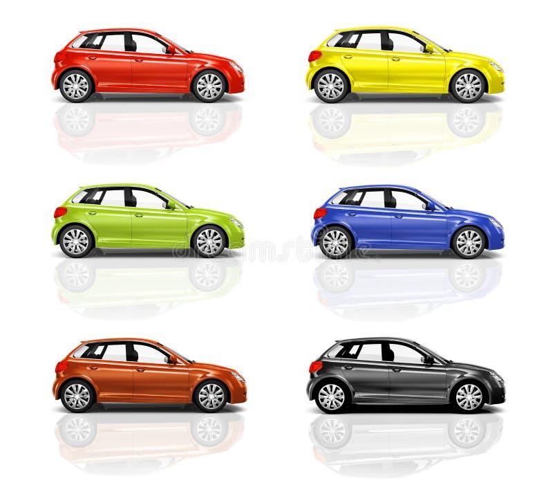 Collection de voitures de la berline avec hayon arrière 3D illustration libre de droits
