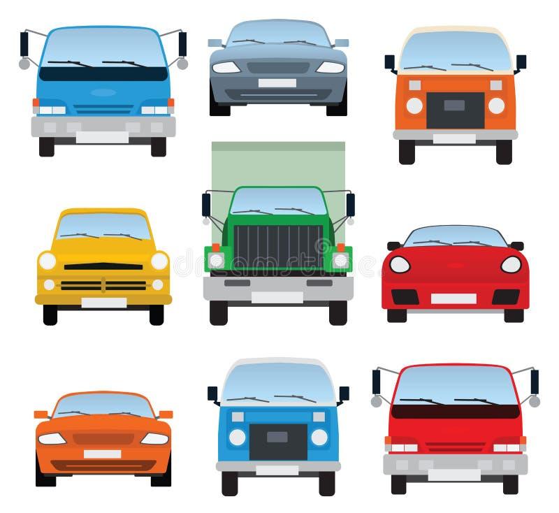 Collection de voitures (vue de face) illustration stock