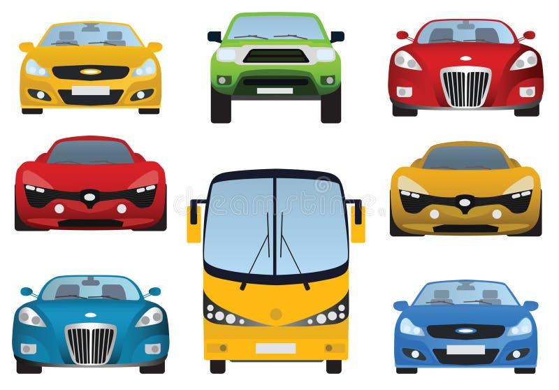 Collection de voitures (vue de face) illustration libre de droits