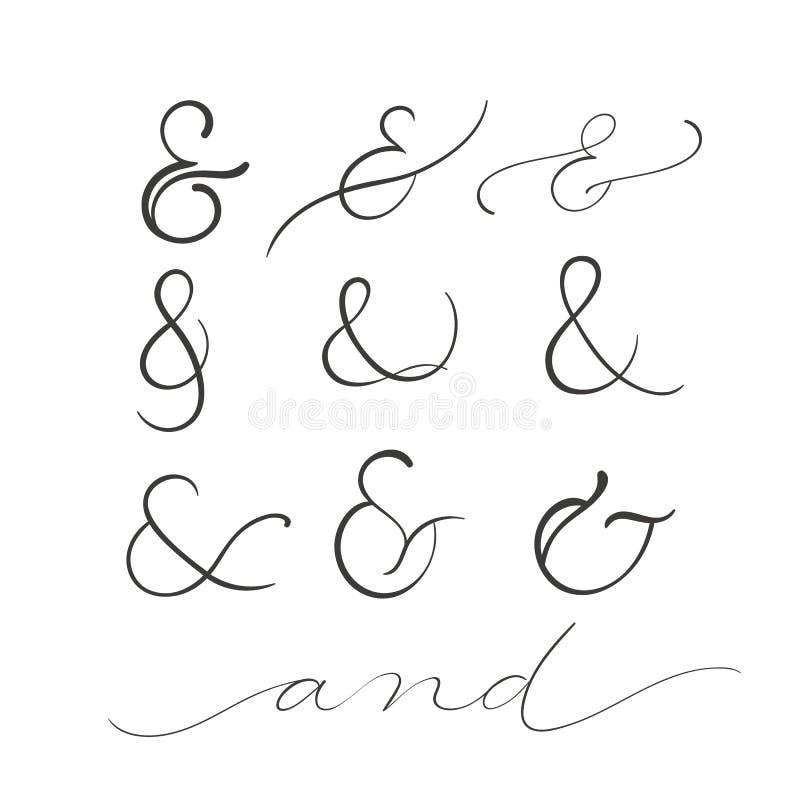 Collection of decoration ampersands. Hand drawn illustration stock illustration
