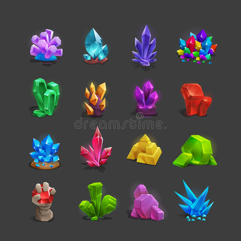 Collection of decoration icons for games. Set of cartoon crystals. stock illustration