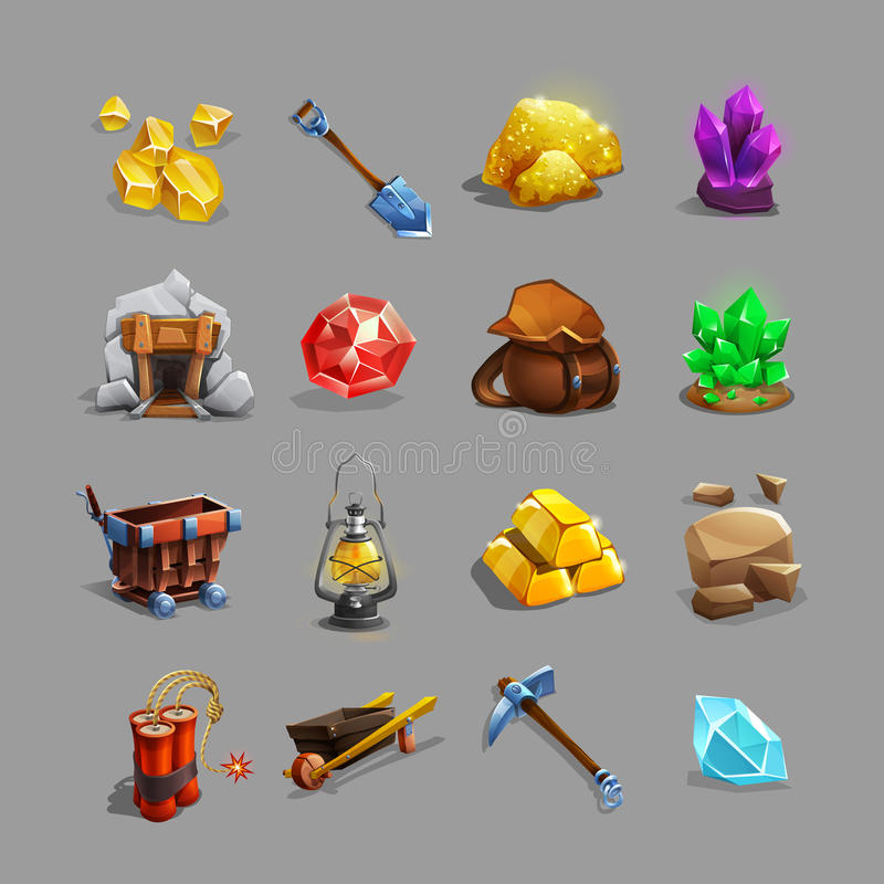 Collection of decoration icons for mining strategy game. Set of cartoon picking tools, stones, crystals, ores and gems. royalty free illustration