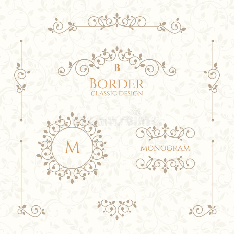 Collection of decorative elements. Borders, monograms and seamless pattern. vector illustration
