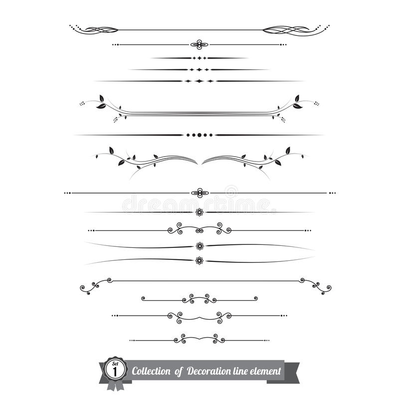 Collection of decorative line elements, border and page rules ve stock illustration