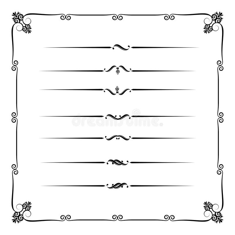 Collection of decorative line elements, border and page rules ve royalty free illustration