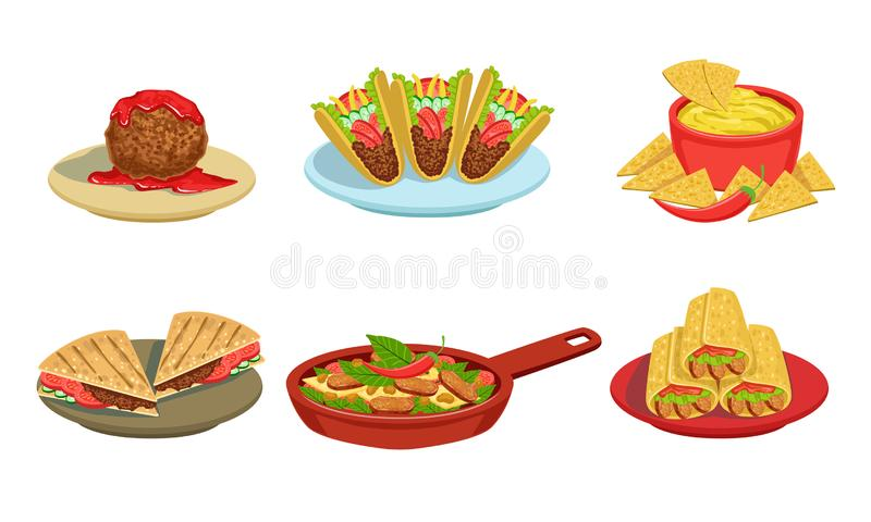 Collection of Delicious Mexican Cuisine Food Dishes, Burrito, Tacos, Nachos, Braised Beans, Meatball Vector Illustration. On White Background royalty free illustration