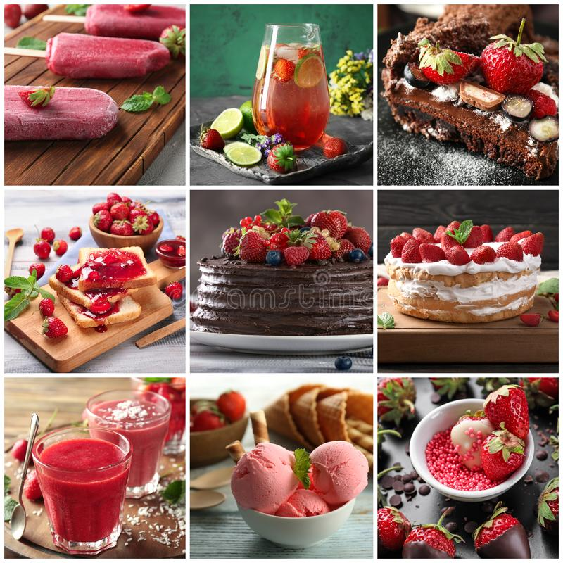 Collection of delicious strawberry desserts royalty free stock photo