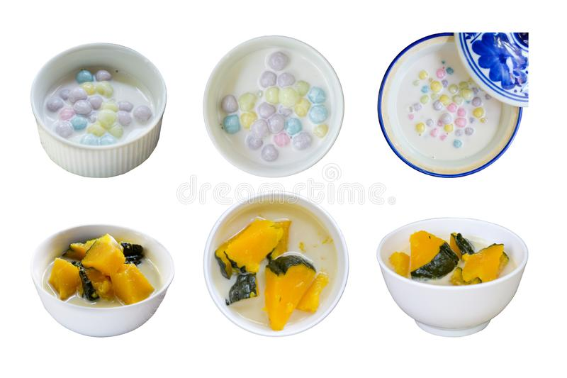 Collection of Thai dessert. Color full dumplings in coconut cream, Coconut Milk Stewed Pumpkin bowl isolated on white background. stock photo