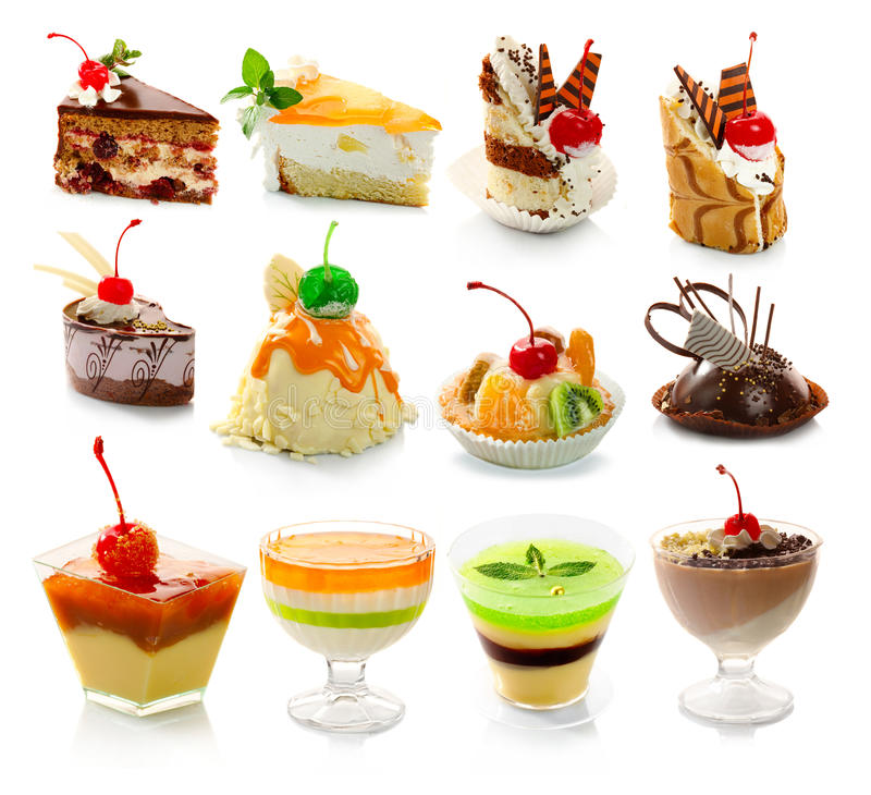 Collection of delicous dessert on white royalty free stock images