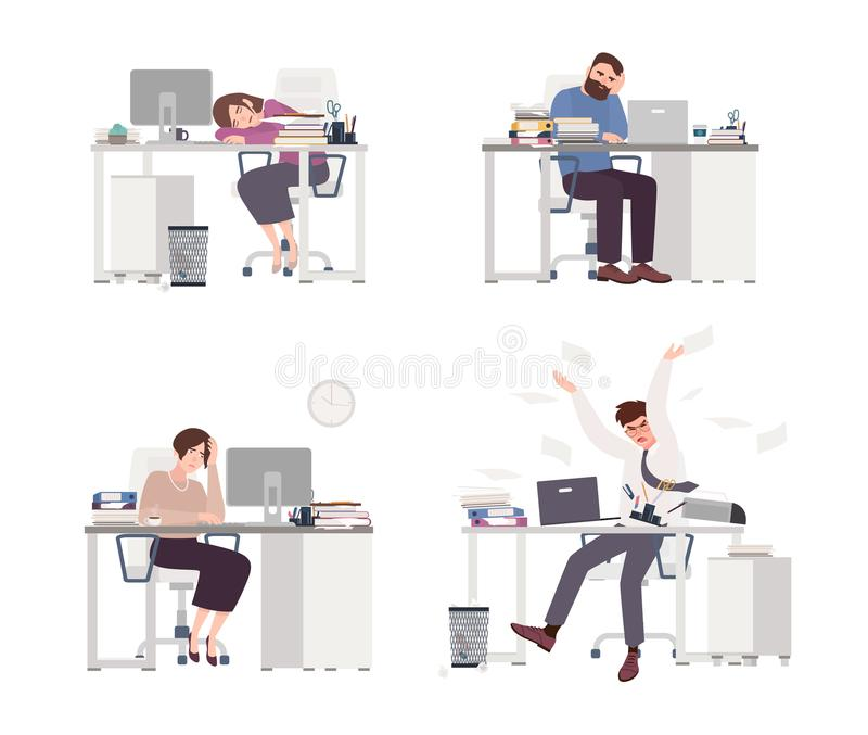 Collection of depressed people at work. Tired male and female office workers sitting, sleeping or expressing anger at stock illustration