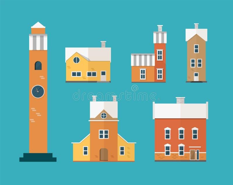 Collection des bâtiments résidentiels à deux étages et de la tour d'horloge d'isolement sur le fond vert Ensemble de maisons de v illustration de vecteur