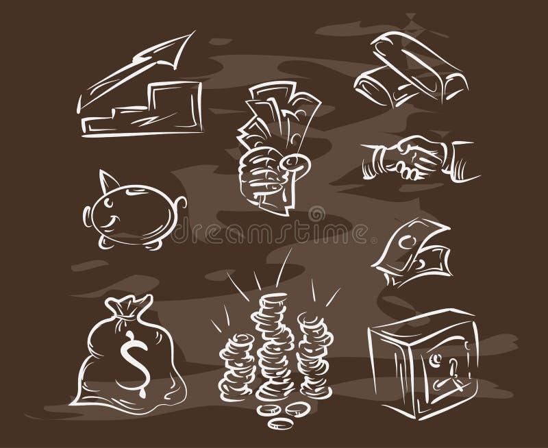 Collection des finances tirées par la main sur le tableau noir Rétro illustration du cru style illustration libre de droits