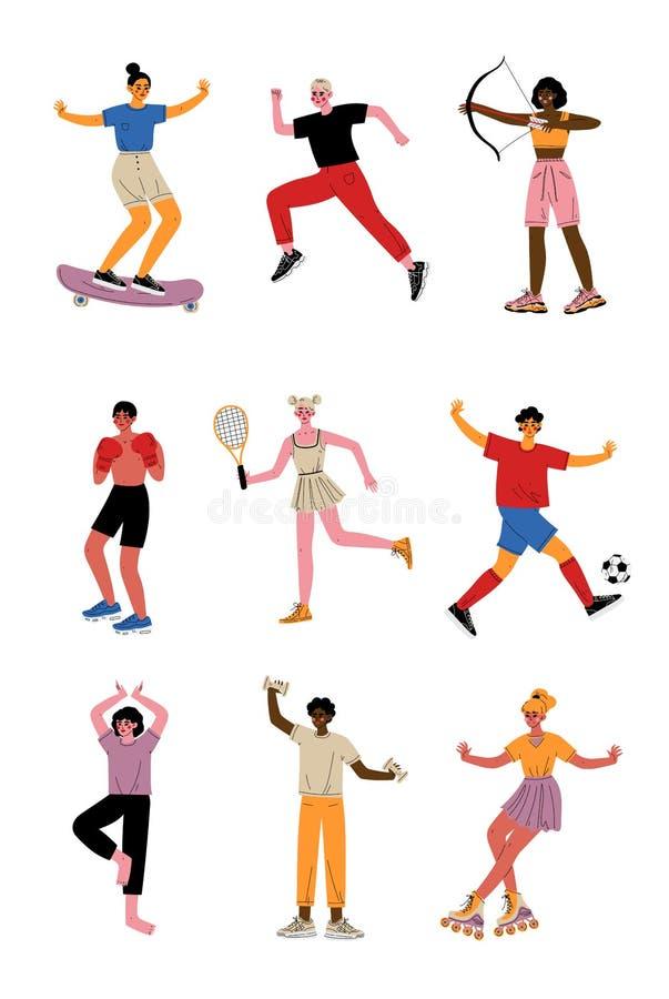 Collection des jeunes faisant différents genres de sports, caractères professionnels d'athlètes dans les vêtements de sport avec  illustration libre de droits