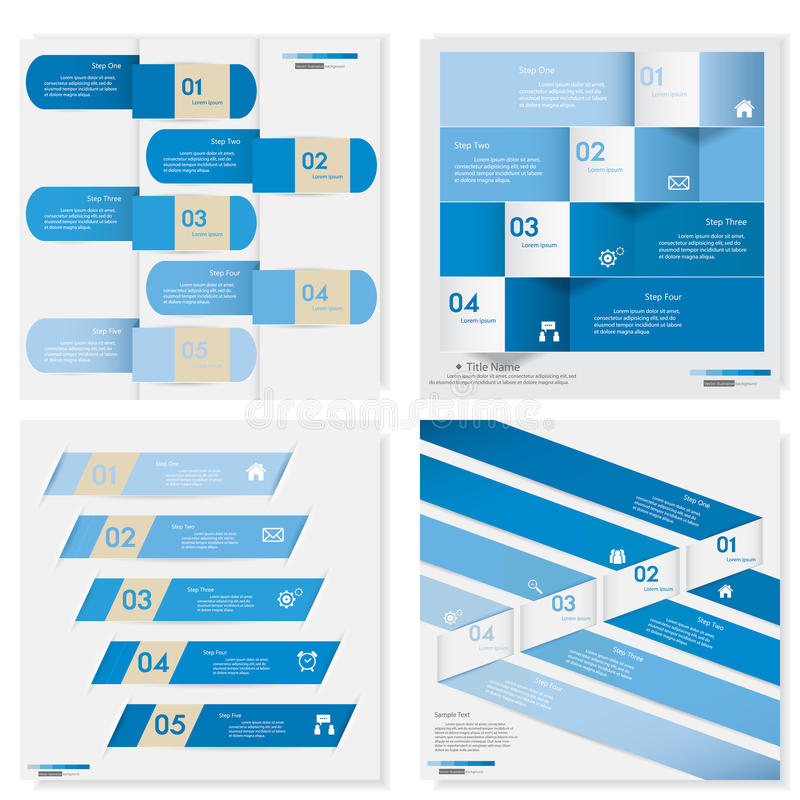 Collection of Design clean number banners template. Vector. royalty free illustration