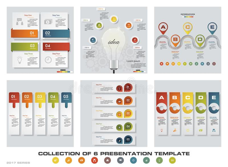Collection of 6 design colorful presentation templates. EPS10. Set of infographics design vector and business icons. vector illustration
